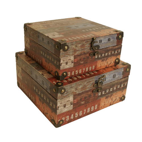 WaldImports 2 Piece Ruler Design Storage Box Set