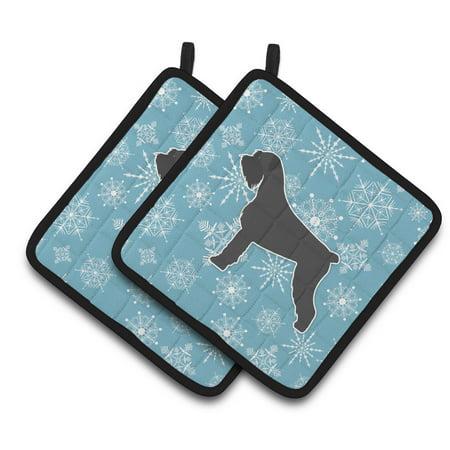 Winter Snowflake Giant Schnauzer Pair of Pot Holders (Giant Snowflakes)