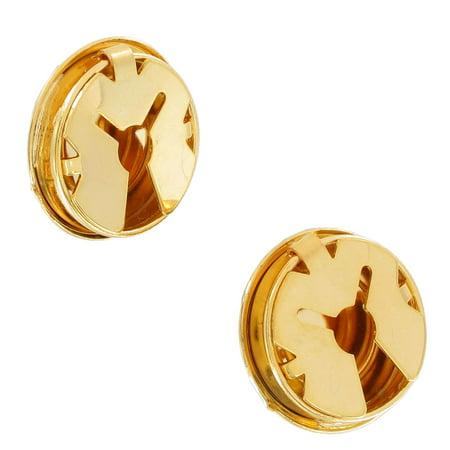 Gold Tone Button Cover Pair Faux Cufflinks Classic Button ()
