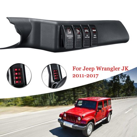 Red Left Side A-Pillar Rocker Switch Pod Panel Kit For Jeep Wrangler JK 2011-17 (Jeep Jk Rocker)