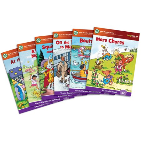 LeapFrog LeapReader Learn to Read, Volume 4 (works with Tag) Discover digraphs, diphthongs and r-controlled vowels. Go to the art mart, take a train to Maine and find out what happens in a race between Squire Hare and Sir Turtle with these LeapFrog LeapReader books. For ages 4-6 years. Learn phonics fundamentals with these Learn to Read books that explores advanced vowels. Hear words sounded out and listen to the different ways advanced vowel sounds are made. Reinforce letter recognition, improve word-blending skills and learn about r-controlled vowels, digraphs and diphthongs. Included LeapFrog LeapReader books: A Year on My Street, Boats Afloat, On the Train to Maine, At the Art Mart, More Chores, Squire Hare and Sir Turtle. LeapReader books tap into children's natural curiosity and inspire them to explore. By connecting LeapReader to a computer you can see your child?s progress, expand the learning with fun activities and get personalized skill insights. LeapFrog LeapReader Learn to Read, Volume 4 (works with Tag):Explore advanced vowels, r-controlled vowels, digraphs and diphthongs in 6 Learn to Read booksHear words sounded out, spoken and spelled to improve word-blending skills and reinforce spelling skillsTeaches advanced vowels, sight words and word recognitionLeapFrog LeapReader Learn to Read Volume 4 are for ages 4-6 yearsWorks with Tag and the LeapReader Reading & Writing System (sold separately)