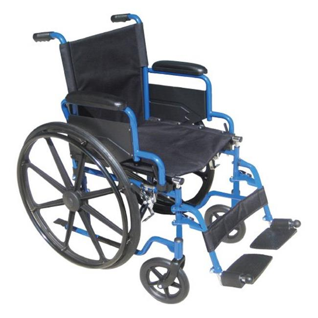 Blue Streak Wheelchair with Flip Back Detachable Desk Arms and Swing away Foot Rest