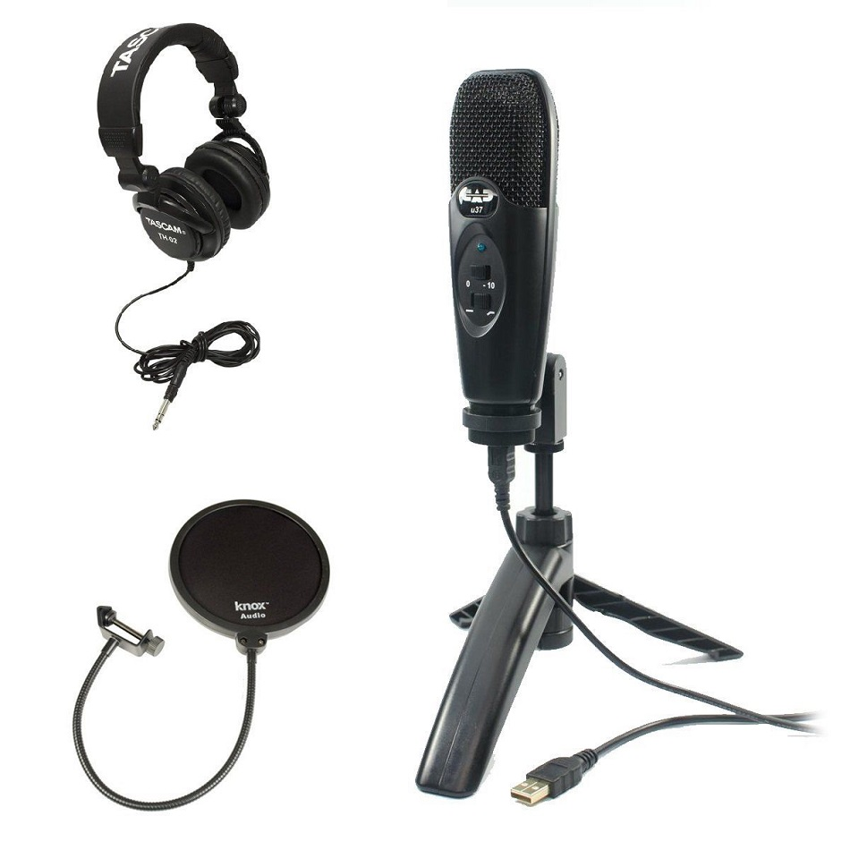 Cad U37 USB Condenser Microphone (Black) with Headphones and Pop Filter