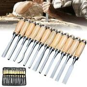 12Pcs/Set Wood Carving Craft Knife Set Hand Work Tool Kit Hand Chisel Woodworking