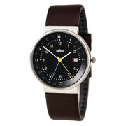 BN0142BKBRG Men's Classic Black Dial Brown Leather Strap GMT Watch
