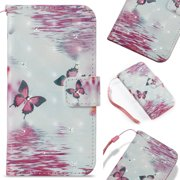 iPhone 6S Case, iPhone 6 Case, Allytech Fancy 3D Print Crystal Diamonds Wallet Case with Card Slots Slim PU Leather Folio Flip Kickstand Case Cover for iPhone 6/ iPhone 6S 4.7-inch Phone,Butterfly