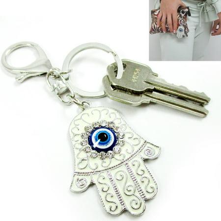 Hamsa Keychain Ring Religious Charm Amulet Kabbalah Evil Eye Chrystal Chain Gift - Religious Keychains