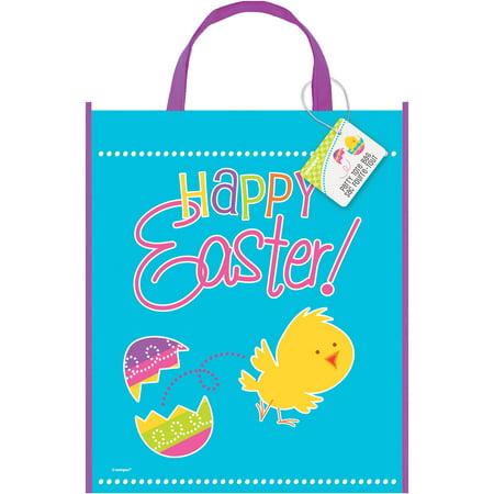 Large Plastic Happy Easter Goodie Bag, 13 x 11in - Easter Bag