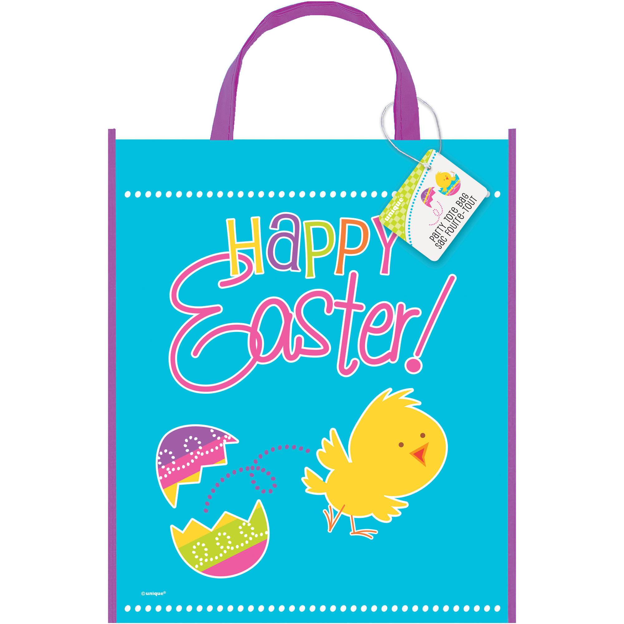 "Large Plastic Spring Chick Easter Favor Bag, 13"" x 11"""