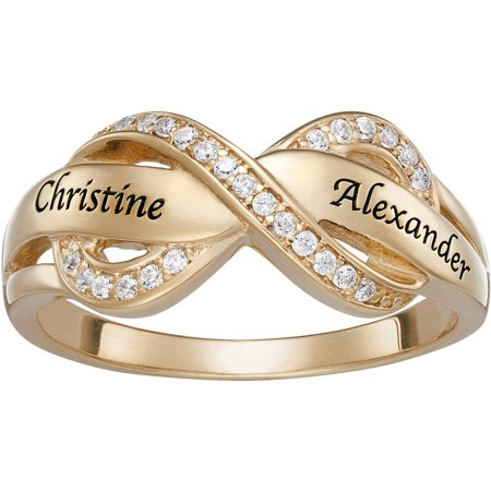 Personalized Couples Gold Over Silver Engraved Name Infinity Cz Ring