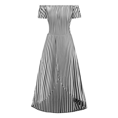 Summer Women Boat Neck Off Shoulder Black White Striped Summer Beach Party Holiday Long