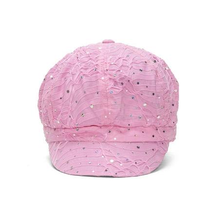 Top Headwear Women's Glitter Sequin Trim Newsboy Style Relaxed Fit Hat Cap New Corduroy Newsboy Cap