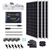Renogy 400 Watts 12 Volts Monocrystalline Solar RV Kit Off-Grid Kit with 30A PWM LCD Charge Controller / Mounting Brackets / MC4 Connectors / Solar Cables /Cable Entry housing
