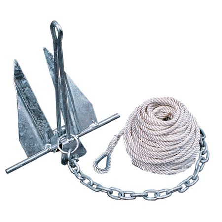 Tie Down Engineering Quik-Set Hooker Anchor Kit Includes 5# Anchor, Anchor Line, Anchor Chain and 2 -