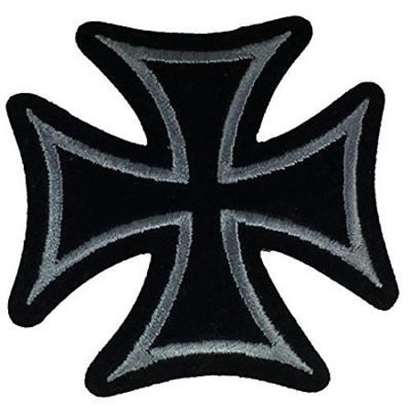 SMALL SILVER BLACK MALTESE CROSS PATCH BIKER MOTORCYCLE MC ORDER ST SAINT JOHN