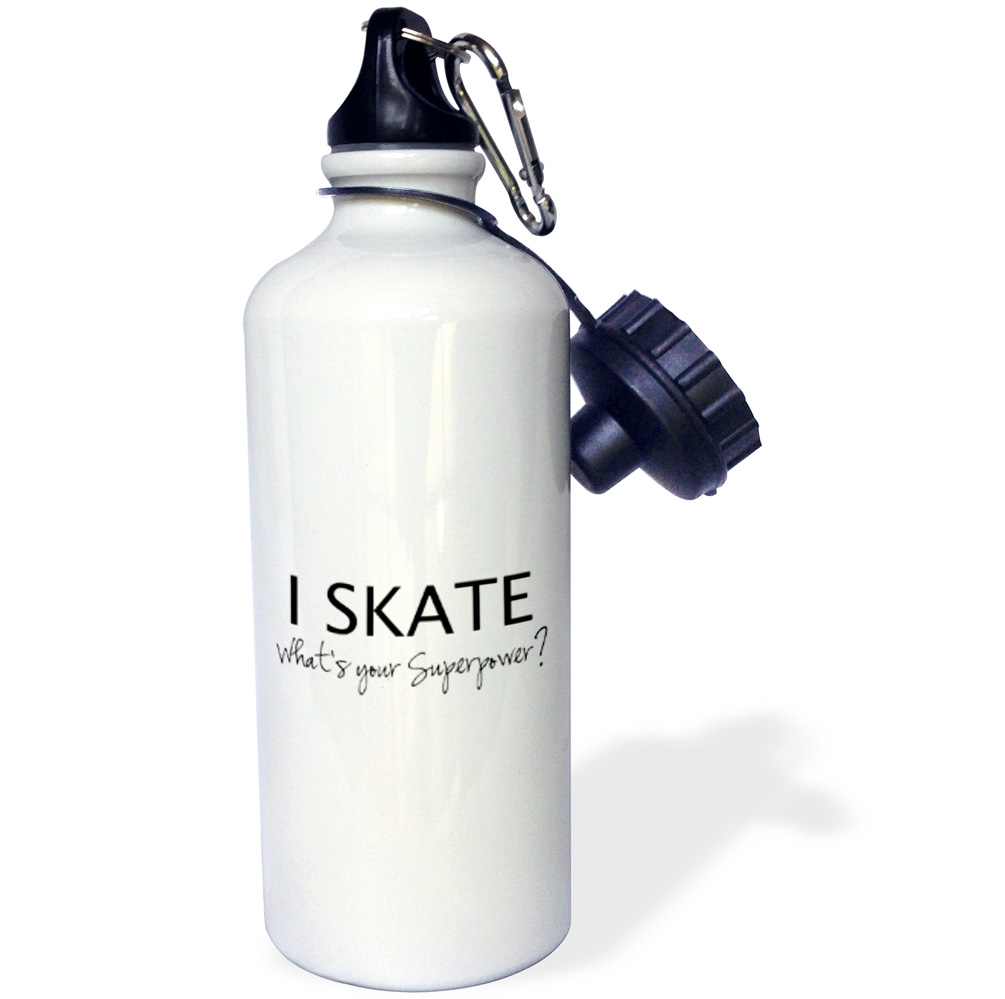 3dRose I Skate Whats your superpower fun gift for skater boys and girls, Sports Water Bottle, 21oz by 3dRose