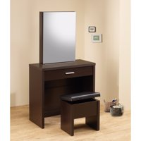 Stylish Vanity with Hidden Mirror Storage and Lift-Top Stool, 2 Piece, Brown