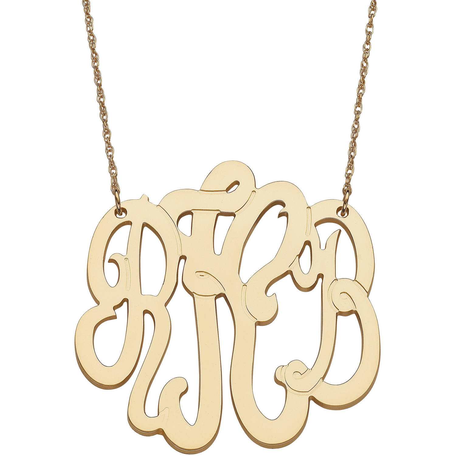 Personalized Gold over Sterling 3-Initial Monogram Necklace, Extra Large