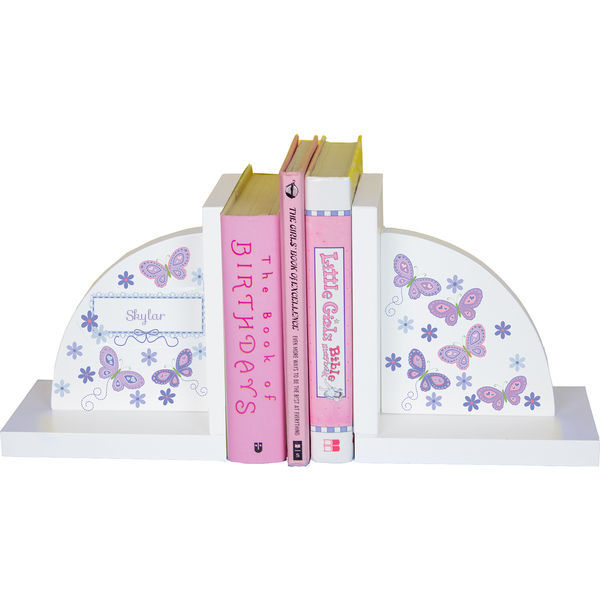 Personalized Butterflies lavender Childrens Bookends