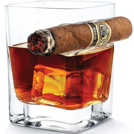 FeelGlad 2Pcs Transparent  Whiskey Glass Cup With Cigar Holder Groove Rack, 11 OZ Cigar Glass Bar Wine Drinking Mug](Custom Drinking Glasses)