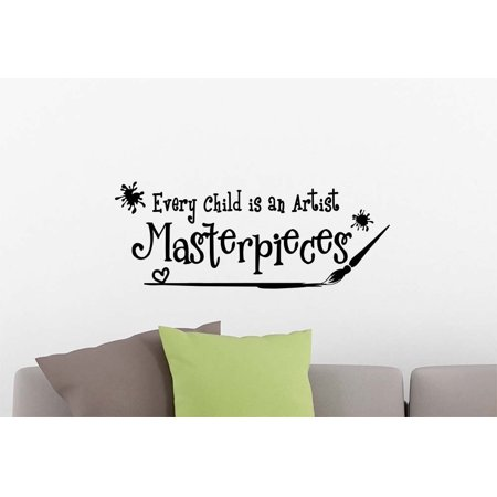 Wall Vinyl Decal Every child is an artist Masterpieces playroom nursery vinyl saying lettering wall art inspirational sign wall quote decor](Halloween Sayings Kids)