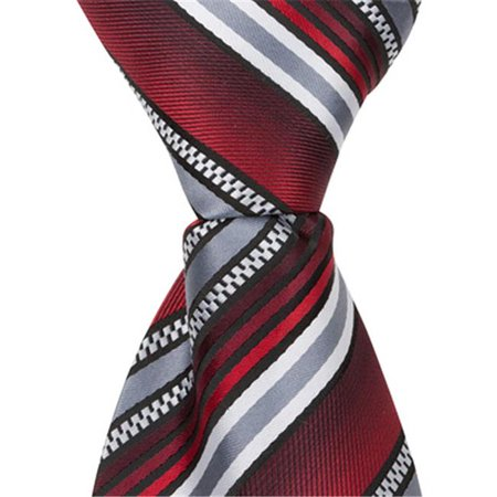 Matching Tie Guy 4569 X4 - 11 in. Zipper Necktie - Red With Grey, White & Black Stripes, 24 Month to 4T - image 1 of 1