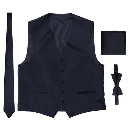 Men's Formal Solid Color Tuxedo Vest, Bowtie, Tie, Pocket Square 4 Piece Set (Black Vested Tuxedo)