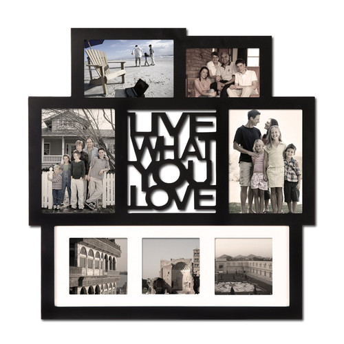 Adeco Trading 7 Opening ''Live What You Love'' Wall Hanging Collage Picture Frame