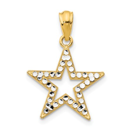 14k Yellow Gold Star Pendant Charm Necklace Celestial Fine Jewelry For Women Gift Set](Gold Star Jewelry)