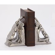 Decmode Ceramic Bookend Pair, Silver