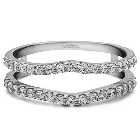 - White Sapphire in Sterling Silver Double Shared Prong Curved Ring Guard (1ct)