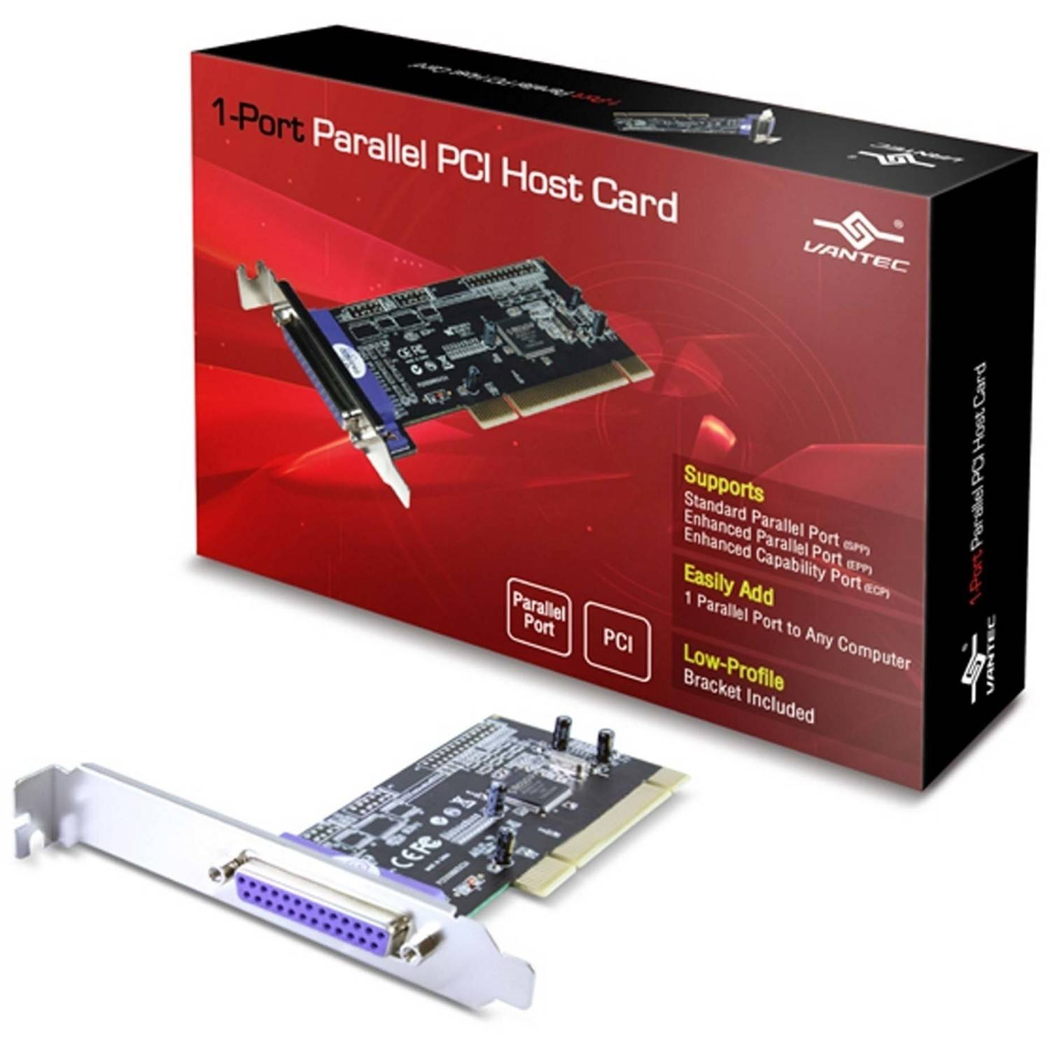Vantec UGT-PC10PL 1-Port Parallel PCI Host Card, Silver