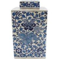 Tea Jar Vase Lion Floral Square Colors May Vary Blue White Varying Black  LA-331