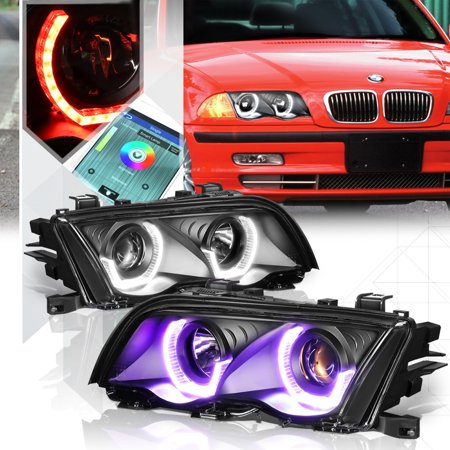 Black Dual RGB 3D Halo[Angel Eye]Projector Headlight for 99-01 BMW E46  3-Series 00