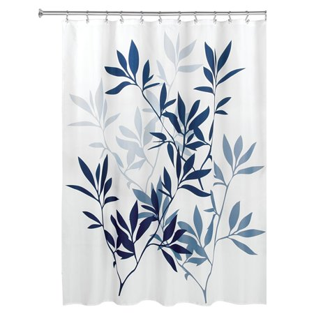 InterDesign Leaves Fabric Shower Curtain Standard 72 X Navy Slate Blue