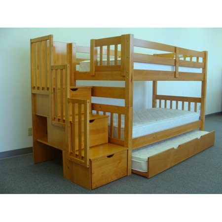 Bedz King Stairway Bunk Beds Twin over Twin with 3 Drawers in the Steps and a Twin Trundle Cappuccino
