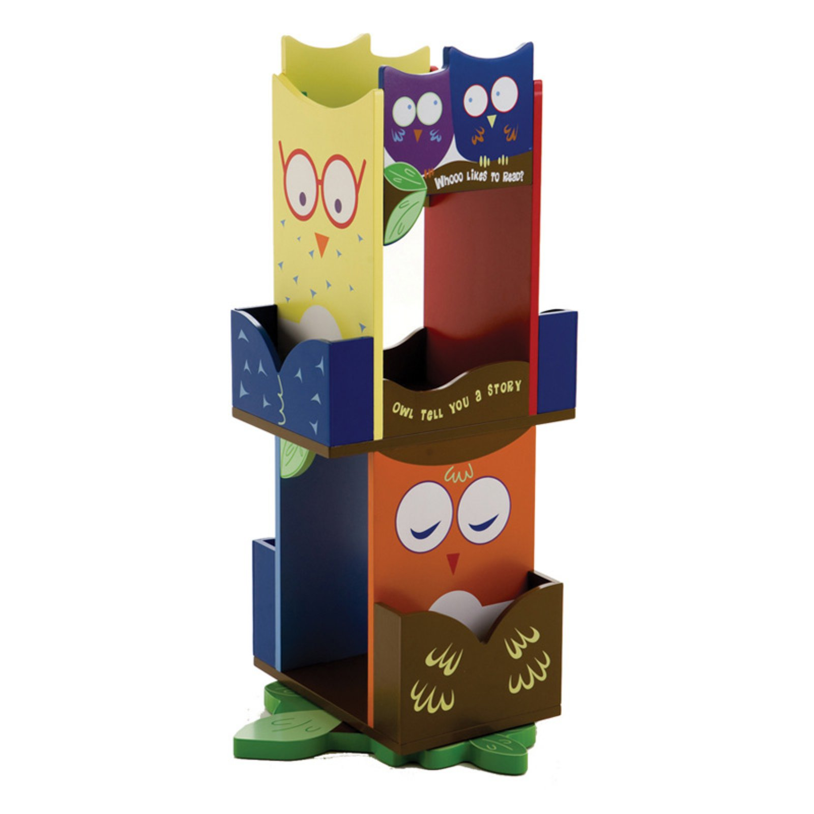 Wildkin Owls Revolving Kids Bookshelf, 2-Tier with 4 Book Slots
