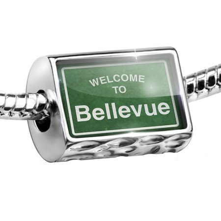 Bead Green Road Sign Welcome To Bellevue Charm Fits All European Bracelets