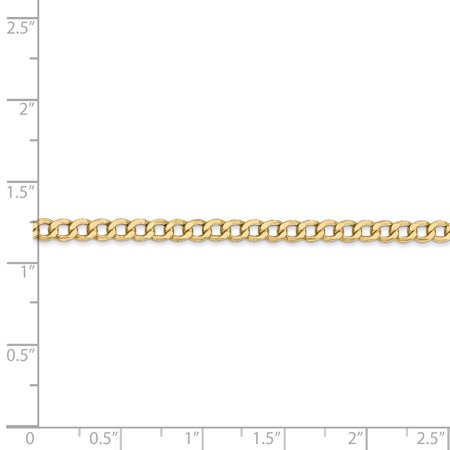 14K Yellow Gold 3.35mm Semi-Solid Curb Link Chain 18 Inch - image 2 of 5