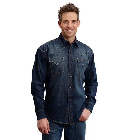 Stetson Western Shirt Mens L/S Snap Close Denim 11-001-0465-7000 (Denim Western Snap)