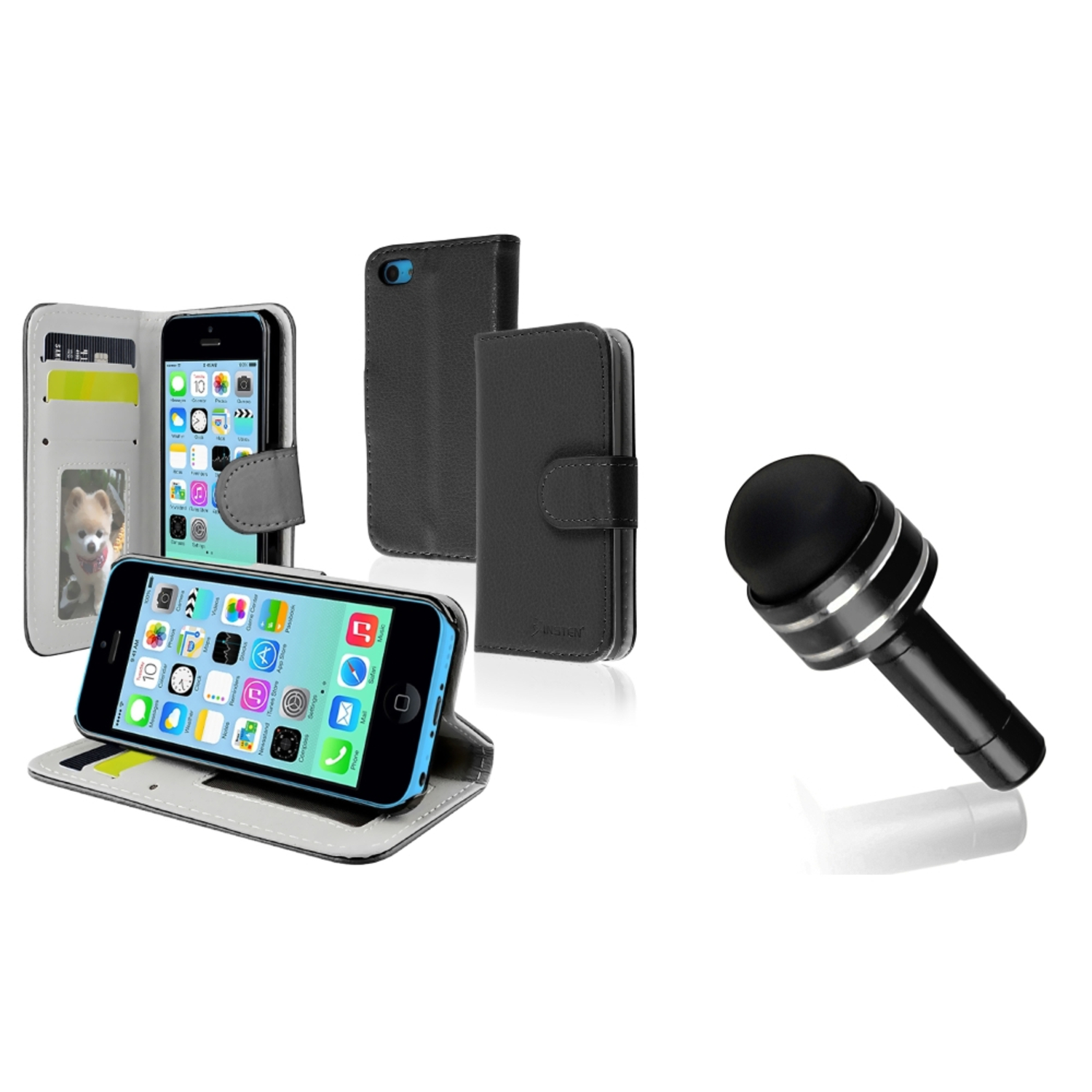 Insten Black Stand Wallet Card Leather Case w/Card Holder+Dust Stylus For Apple iPhone 5C