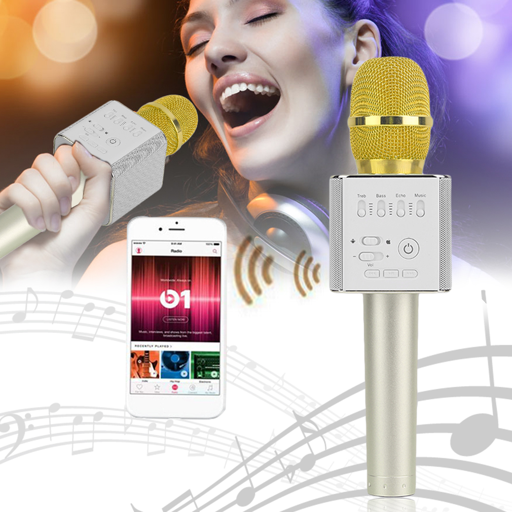 High Quality 2017 Hot Sale Q9 Super Bass Wireless Portable Audio Karaoke Microphone Mic... by