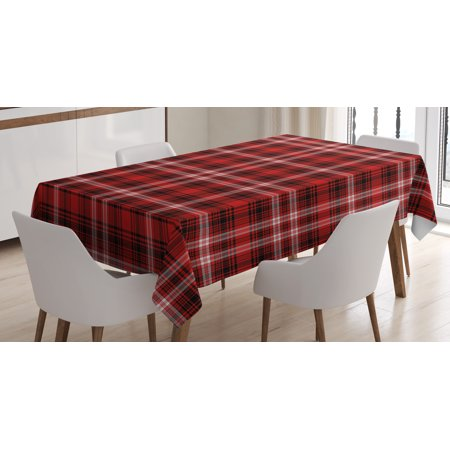Red Plaid Tablecloth (Red Plaid Tablecloth, Quilt Squares Rectangles Flannel Pattern Geometric Inspirations Abstract, Rectangular Table Cover for Dining Room Kitchen, 52 X 70 Inches, Red Black White, by)