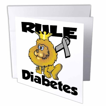3dRose Rule Diabetes Awareness Ribbon Cause Design, Greeting Card, 6 x 6 inches, single