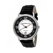 Morphic M49 Series Leather-Band Swiss Watch W/ Magnified Date - Black/White