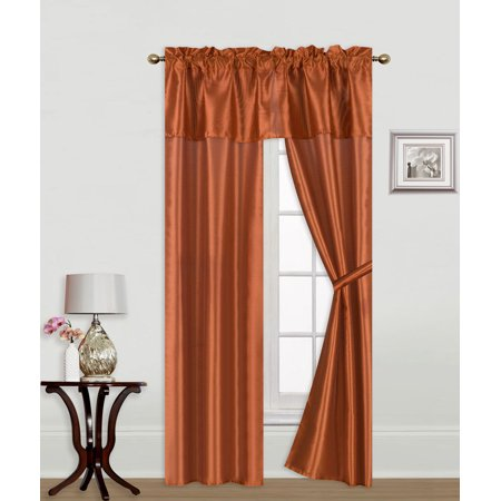 - Knight Orange 5-Piece Rod Pocket Faux Silk Light Softly Filtering Window Panel Set, 2 Panels, 1 Attached Valance and 2 Tie Backs 54