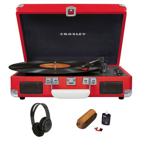Crosley Cruiser Portable 3-Speed Turntable with Bluetooth - Red (CR8005D-RE) + Bluetooth Bundle with Wireless Headphones & D4+ Vinyl Record Cleaning Fluid System w/ Dust