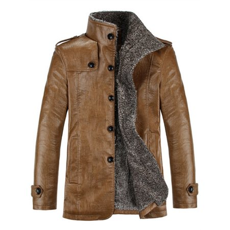 Button Trim Leather Jacket (Men's Thick PU Leather Button Winter Fashion Trench)