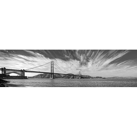 Suspension Bridge Over Pacific Ocean Golden Gate Bridge San Francisco Bay San Francisco California Usa Canvas Art   Panoramic Images  12 X 42