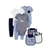 Child of Mine by Carter's Baby Boy Short Sleeve Bodysuits, Pants & Bibs Baby Shower Layette Gift Set, 8-Piece